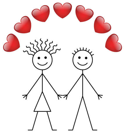harts: Valentine stick boy and girl isolated on white background Stock Illustratie