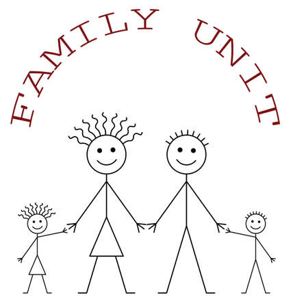 family unit: Family unit consisting of parents and two children