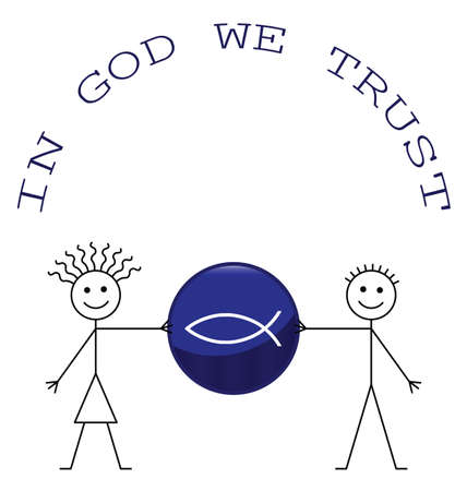 male symbol: Man and woman with trust in God message