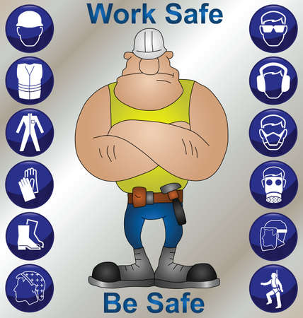 building safety: Construction worker wearing personal protection equipment and safety icons