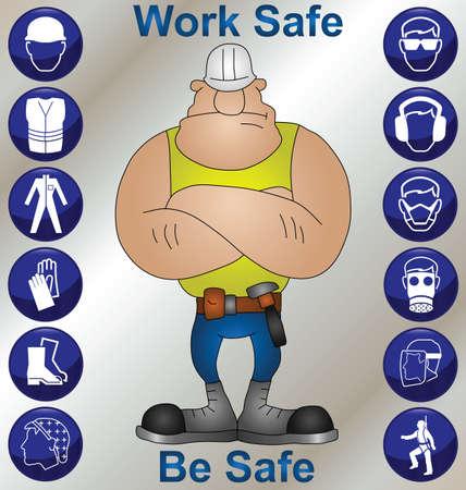 ingeniero caricatura: Trabajador de construcci�n usando iconos de seguridad y equipo de protecci�n personal