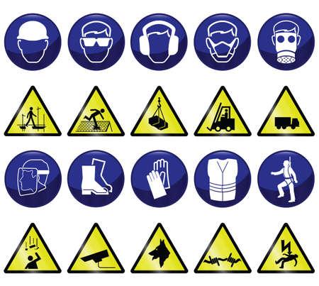 Obligatoire connexe construction & les icônes des dangers et les signes