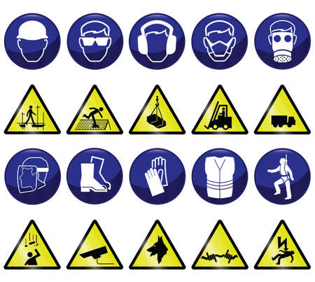 seguridad e higiene: Relacionados con la construcci�n obligatorio & iconos de riesgos y signos Vectores