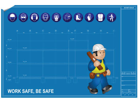 safety harness: Construction health and Safety against blueprint drawing
