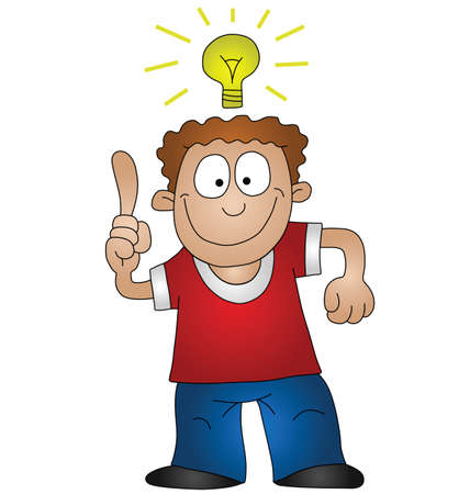create idea: Cartoon man with bright idea isolated on white background  Illustration