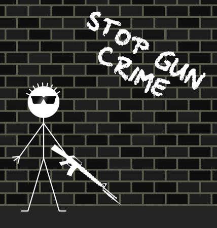 cease: Stop gun crime message on urban brick wall Illustration
