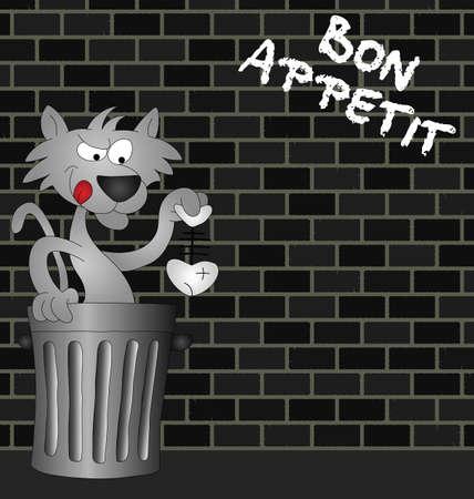 scavenging: Feline Bon Appetit message on urban brick wall Illustration