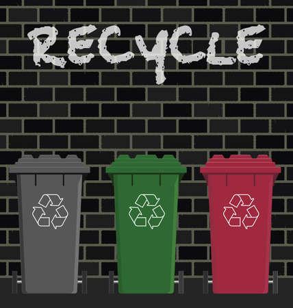 afvalbak: Wheelie bakken tegen een bak stenen muur Stock Illustratie
