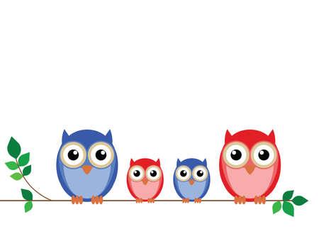 sowa: Rodzina owls satelitarną na gałęzi drzewa