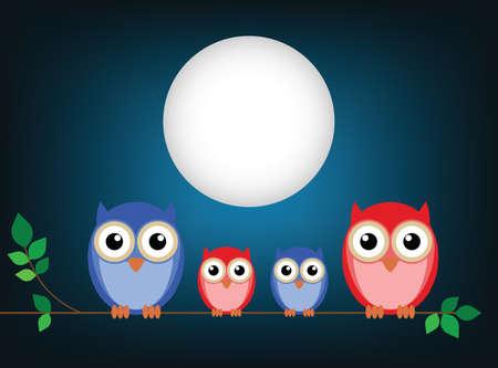 night bird: Family of owls sat on a tree branch at night