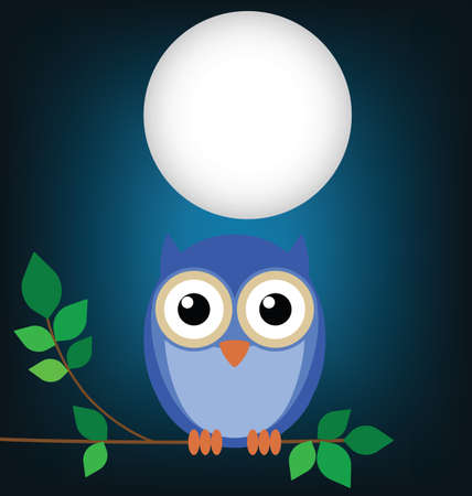 Wise old owl sat on a tree branch at night Vector