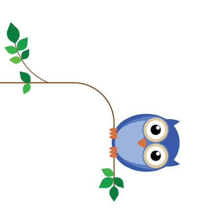 Overweight owl sat on a thin tree branch Vector