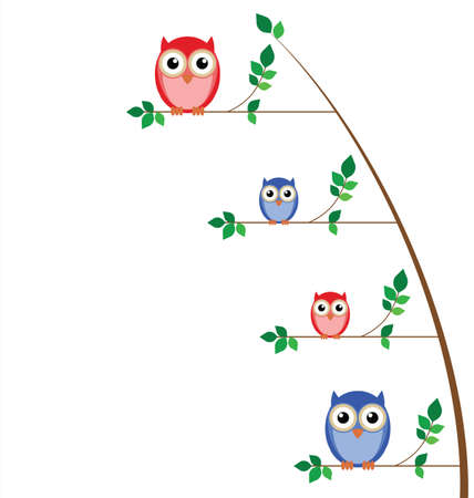Owl family tree isolated on white background Stock Vector - 8809267