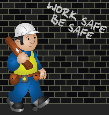 tradesperson: Cartoon builder with health and safety message