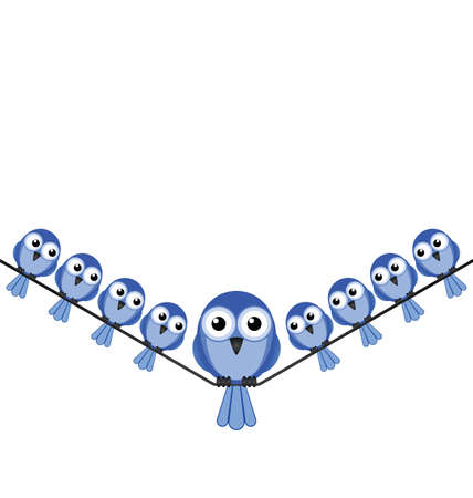 sat: Overweight bird sat on a wire isolated on white background with copy space Illustration