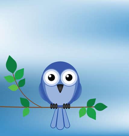 ornithology: Bird sat on a tree branch against a blue sky Illustration