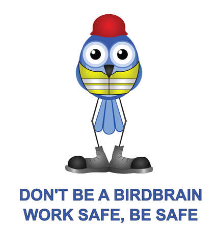 safety message: Bird with construction health and safety message