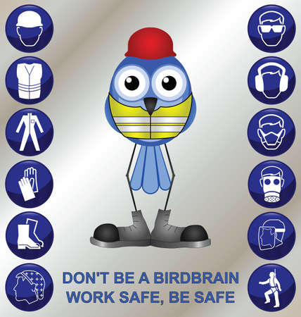health and safety: Bird with construction health and safety message