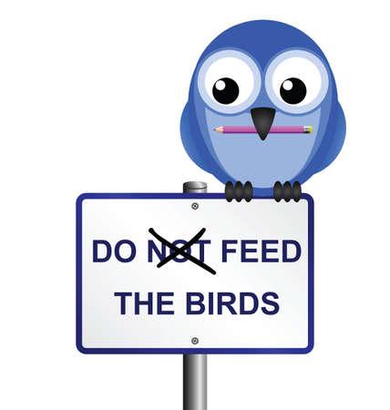 Bird altering do not feed the birds sign Stock Vector - 8904558