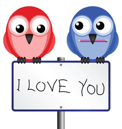 ornithology: Birds with I love you handwritten message on sign