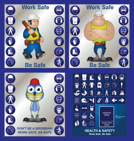 Construction health and safety at work collection including make your own sign Vector