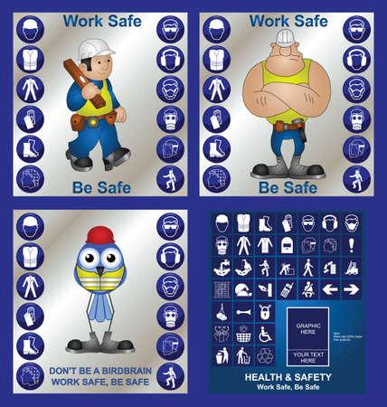 ingeniero caricatura: Salud de construcci�n y seguridad en el trabajo conjunto incluyendo hacen su propio signo