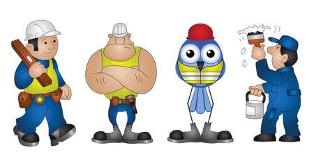 ingeniero caricatura: Cuatro construyendo personajes de construcción aisladas sobre fondo blanco