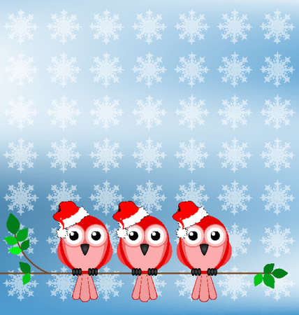 ornithology: Bird wearing Santa hats sat on a branch Illustration