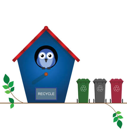 biodegradable: Bird house with recycling wheelie bins for collection Illustration