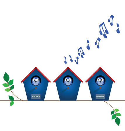 Bird house playing load music with neighbours for sale signs with copy space