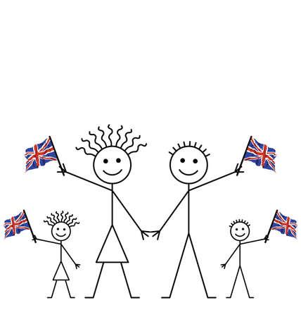 welsh flag: Famiglia celebra un evento Sventolando bandiere Union Jack con spazio di copia