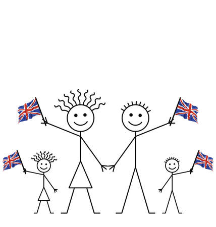 Family celebrating an event waving Union Jack flags with copy space