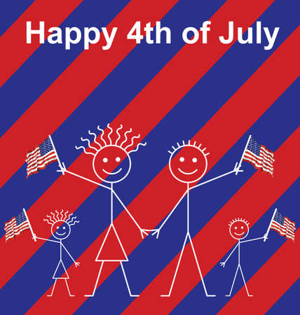 Family celebrating 4th of July waving American flags Vector