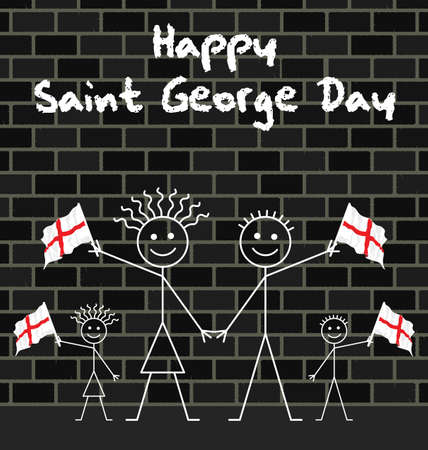 george: Family celebrating Saint George day waving flags Illustration