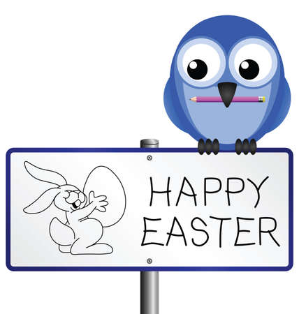 Happy Easter message with Easter bunny drawing Stock Vector - 9098249