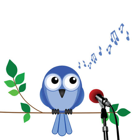 gig: Birdsong with bird singing into a microphone with copy space