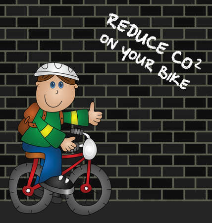 dioxido de carbono: Dibujos animados ciclista y reducir el mensaje de las emisiones de CO2