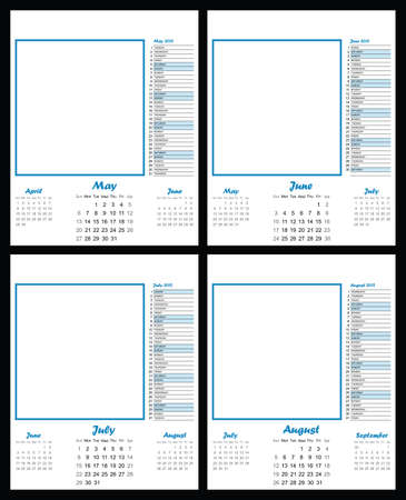 weekday: 2012 blank calendar template May to August copy space for own text and graphics