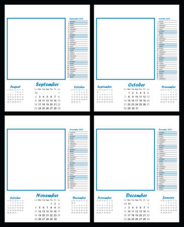 2012 blank calendar template September to December copy space for own text and graphics Stock Vector - 9281211