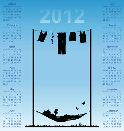 2012 calendar with woman reading in a hammock Vector