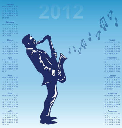 2012 calendar with musician playing the saxophone Vector