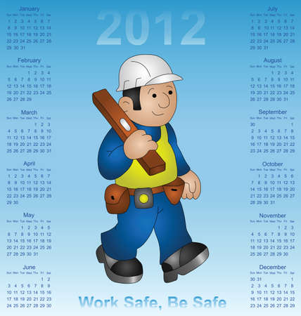 2012 calendar health and safety construction industry Vector
