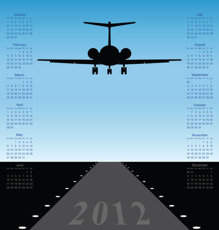 weekday: 2012 calendar with plane landing at airport