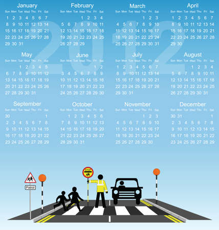 2012 calendar children school cross road safety Vector