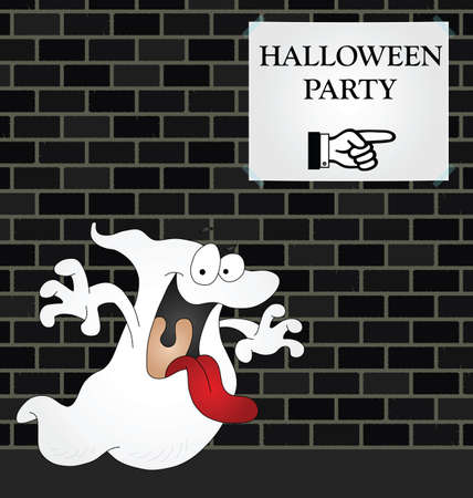 Ghost on his way to a Halloween Party Stock Vector - 9408140