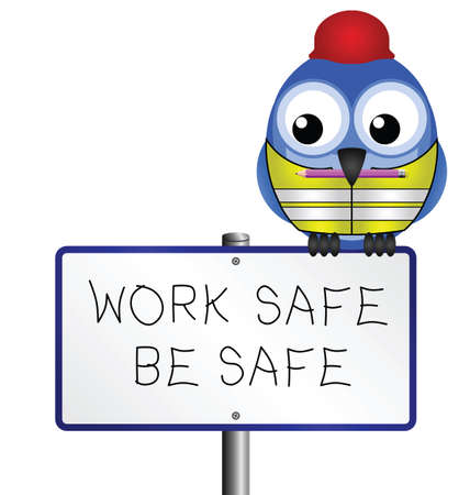 safety hat: Bird with construction health and safety message