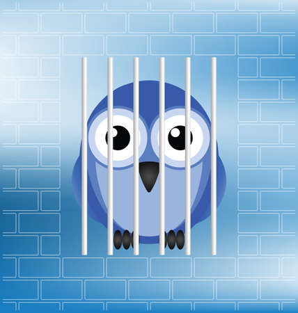 confinement: Concept of a jailbird behind bars in prison Illustration
