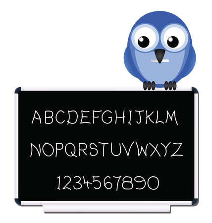 written text: Hand written text and numbers on blackboard Illustration