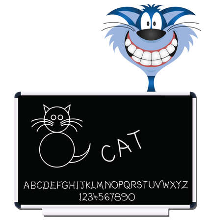 moggie: Cat children learning blackboard with alphabet and numbers