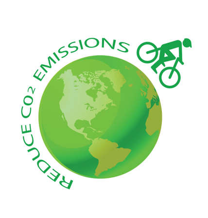environmentalism: Green earth with pushbike reduce CO2 message